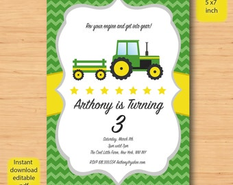 Farm Tractor birthday invitation-SELF EDITABLE PDF -5 x 7inch Customisable Printable Birthday Party Invite - Instant Download