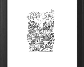Detailed Original Handmade Fantasy Illustration (Dragonbane Fortress)