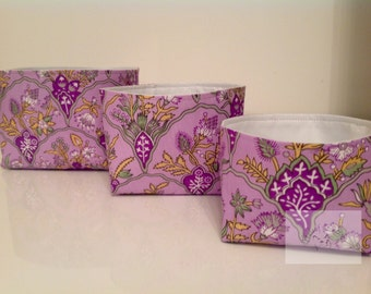 Fabric Storage Box Set - Purple Floral