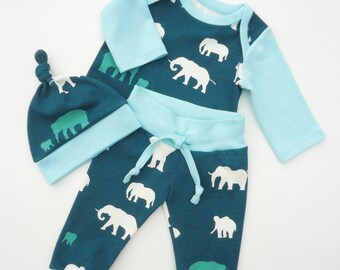 Organic baby boy outfit-Boy coming home outfit organic-Baby elephants teal set-Baby boy organic set-Newborn organic outfit
