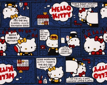 "Hello Kitty Character Fabric made in Japan FQ 45cm by 53cm or 18"" by 21"""