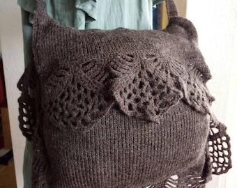 Handmade handmade bag knitted Brown wool shoulder bag filigree boho hippie