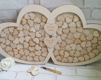 Wedding Guest Book Drop Box, Entwinned Love Heart Wooden Guest Book Alternative, Drop Top Style Wedding Guest Book Alternative, Birthday,