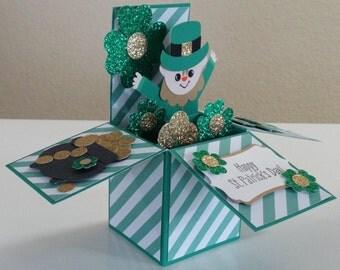 St.Patrick's Day, Leprechaun handmade 3D pop up greeting card