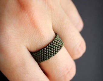 Plain women's ring Thumb ring for women Beaded ring Seed bead ring Peyote ring size 4 5 6 7 8 9 10 11 12 13 14  Simple band ring for men