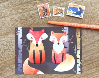 Fox Lovers Postcard- 3 Pack Postcard, postcrossing,snailmail, journal, card, stationery,