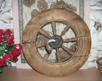 Antique wheel from spinning wheel 1920s  Rustic home decor Round wall hanging Gift idea Old wood wall art Primitive wooden spinning wheel