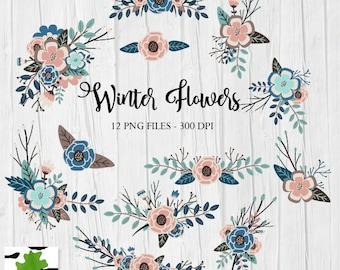 Winter Flowers Floral Arrangements Bouquets Clipart