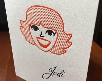 Personalized caricature letterpress stationery