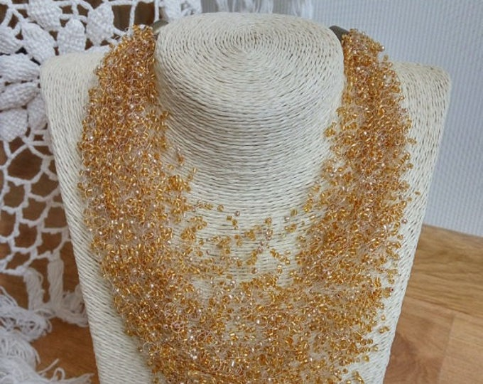 Gold fashion necklace crochet airy jewelry gift for her cobweb bridesmaid classic casual office everyday beadwork party unusual gift idea