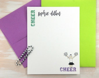 Personalized Stationary Set, Cheer Mom, Personalized Sports Gifts, Cheer Gifts, Stationery Set, Cheer Coach Gift, Thank You Cards, Set of 12