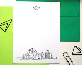 Mens Stationary Set, Dallas Skyline Art, Monogram Thank You Cards, Groomsmen Gifts, Dallas Texas, Personalized Stationery Set of 12