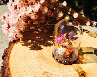 angel in a garden, look! what a pretty flower! preserved flowers, baby's breath, handmade jewelry