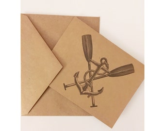 Anchor and Oars Card Set of 5