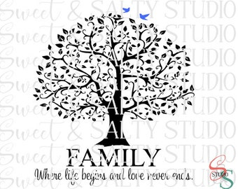 family where life begins and love never ends (with extra birds) digital file