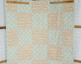 Tan Zoo and Plaid Quilt **ON SALE**