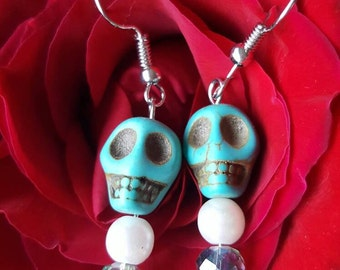 Turquoise skull pearl bead dangle earrings