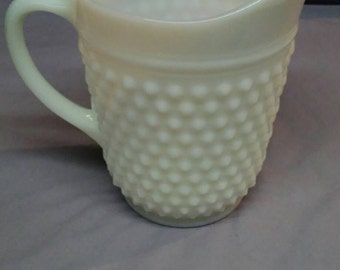 Vintage White Hobnail Milk Glass Pitcher