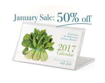 Desktop Small Calendar with Stand, 2017 Desk Calendar, Art by Sally Jacobs, Botanical Art Prints, Flower Calendar, Floral Calendar