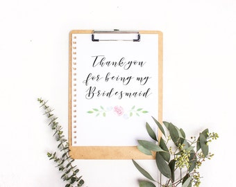 Wedding Thank You Note, Bridesmaid Gift, Wedding Favor, Bridesmaids Gift, Bridal Shower Gift, Thank You Favor, Thank You Note, Rustic Note