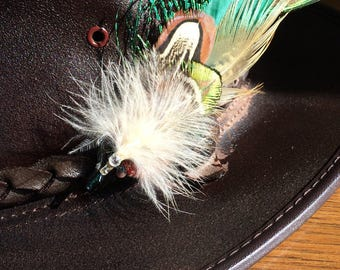 SOLD Green and browns Feather assortment hat pin