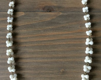 White coral reef - necklace - white coral peanut beads