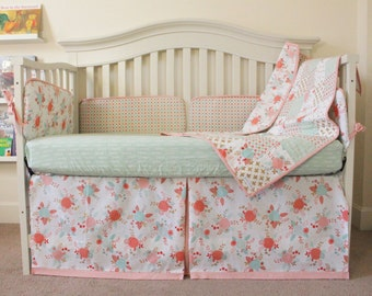 Bedding Set, baby girl bedding set, floral bedding set, nursery bedding, baby bedding, crib skirt, crib quilt, crib sheet, floral nursery