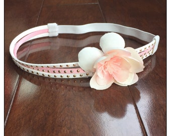 Pretty in Pink, boho headband, studded headband, flower crown