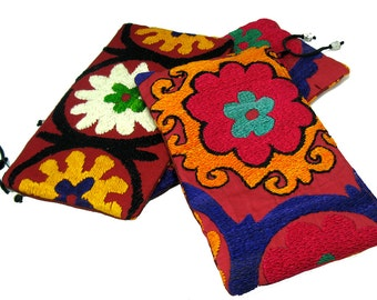 Zip purses, suzani embroidery, ethnic pouches, vintage bags, vintage purse, zip bag