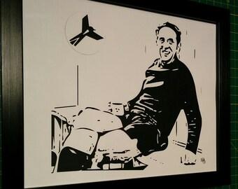 Paper cut art of Jimmy Sirrel, Notts County legend