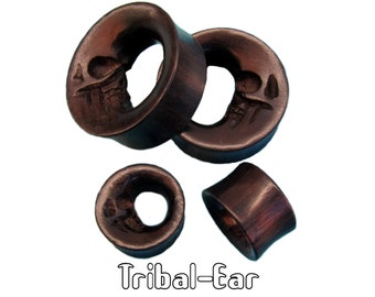piercing plugs moon skull ebony wood tunnels Tribal-Ear jewelry by Body Ethnic