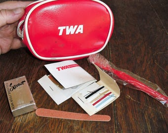 Vintage TWA Toiletries Bag with Savant Cologne Sewing Kits Toothbrush File 1960's