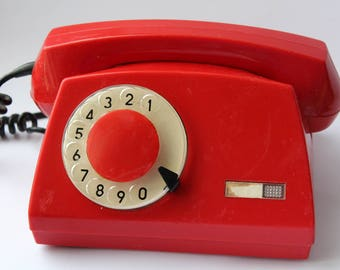 Phone Soviet era. Polish phone. Rotary Dial Phone. Red rotary phone.