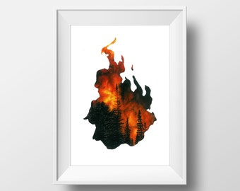 Element, Fire, FINE ART PRINT, Burning, Nature, Red