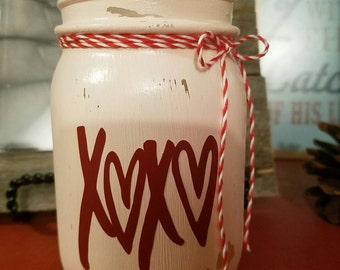 Valentines Day inspired XOXO Mason Jar