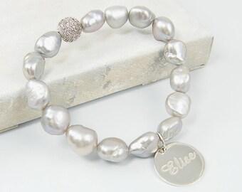 Personalized Silver Pearl Bracelet Engraved Sterling Silver Charm Bracelet Custom Name Bracelet Silver Monogram Rhinestone Ball Bracelet