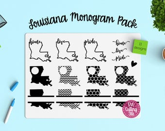 11 Louisiana SVG - Louisiana State SVG - Louisiana Monogram Frames - Louisiana Pride - Louisiana Love