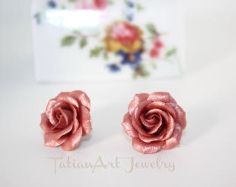 Rose Earrings, Pink Copper color, Handmade polymer clay rose earrings, Floral Jewellery, Bridesmaids Gift, Nice gift for lady.