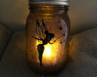 Tinkerbell Sprinkled Her Fairy Dust on This Mason Jar and Jelly Jar!