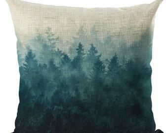Housse de coussin déco toile de lin et coton beige Forêt | Décoration d'intérieur | Salon |  Design Nature Hyspter | Sapins et brume