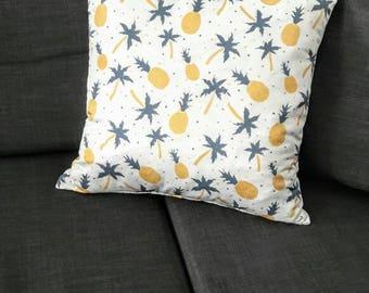 Housse coussin Ananas et Palmier en satin blanc| NEW home decor 2018 | Déco d'intérieur originale | Salon & Chambre |  Design Tropical fun