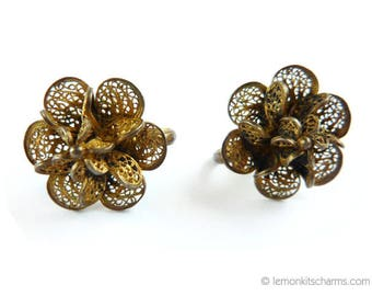 Vintage Cannetille Filigree Floral Earrings, Jewelry Antique, Art Deco Victorian Edwardian, Goldtone, Flower, 1920s 1910s, Screw-back Clips