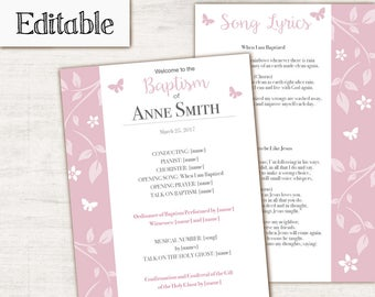 Baptism Program, Editable PDF, LDS Printable Digital Handout Girl Baptism, Pink Butterfly, Program Template