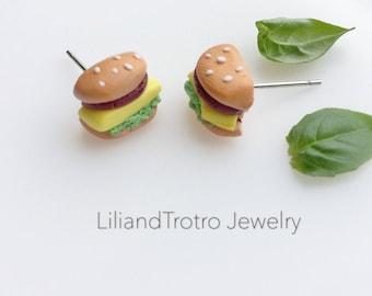 Hamburger Earrings - Handmade Polymer Clay
