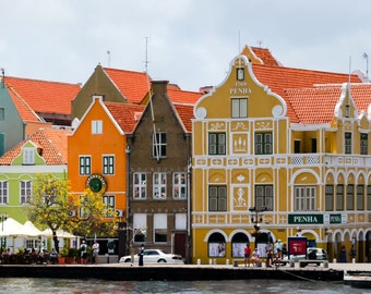 Photograph of bright colored buildings in Curaçao