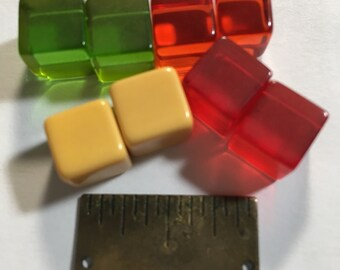 8 Miniature 3/8i  Bakelite Cubes Charms Dice or  Beads