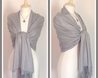 Grey Cashmere Blend Wrap Pashmina Shawl Scarf Party Weddings Gift Idea