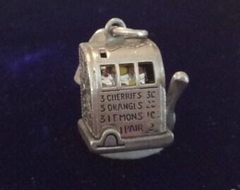 Sterling silver slot machine charm vintage # 1106