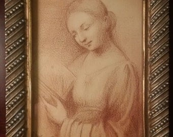 Old Italian Master Woman Reading 16th century (?) Signed Frame
