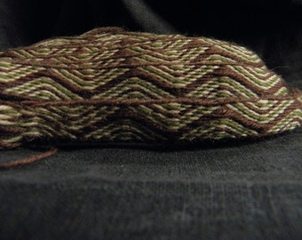Tablet woven trim, brown, dark green, beige, naturally plant dyed wool trim, Viking reenactment, medieval clothing, historical braid